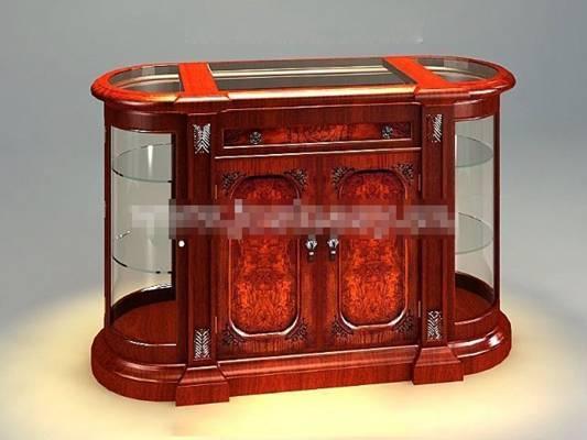 传统美式原木色木艺餐边柜