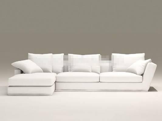 现代白色布艺三人沙发