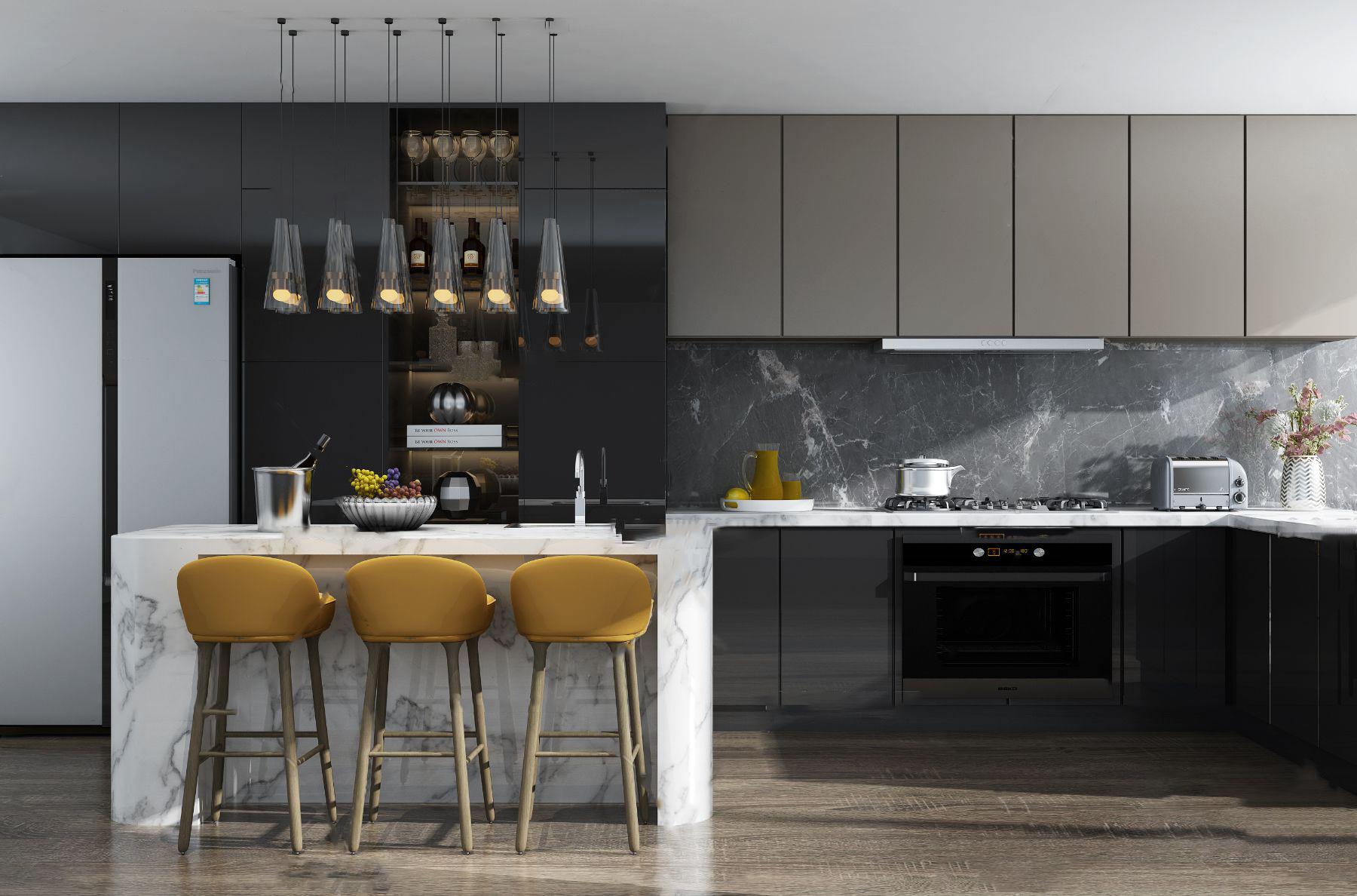 现代厨房橱柜吧台吧椅组合3d模型