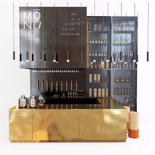 现代酒吧台酒柜3d模型