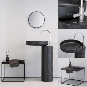 现代大理石立柱式台盆 现代台盆 边几 镜子
