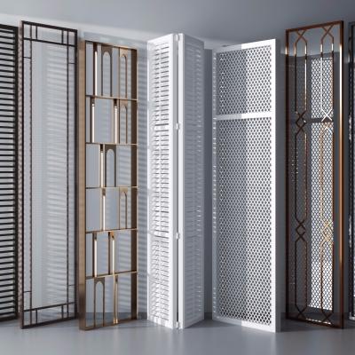 现代实木镂空隔断屏风组合3D模型