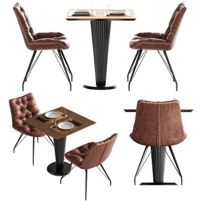 工业风休闲桌椅餐具组合3D模型