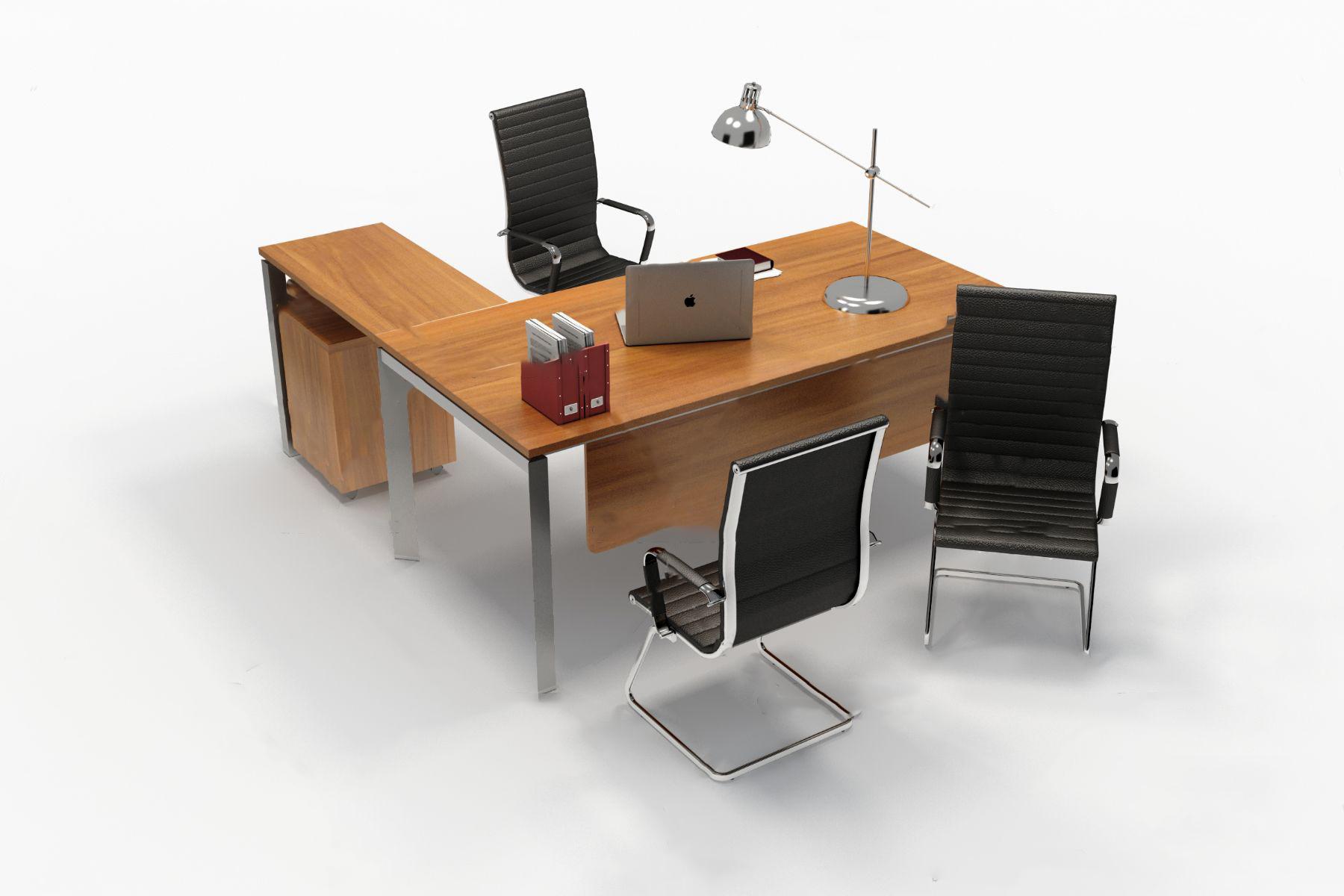 现代大班台办公桌椅3d模型