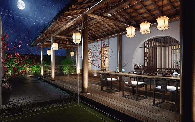 室外景觀走廊 新中式景觀 連廊 吊燈 茶桌 椅子 擺件 石頭 桃花