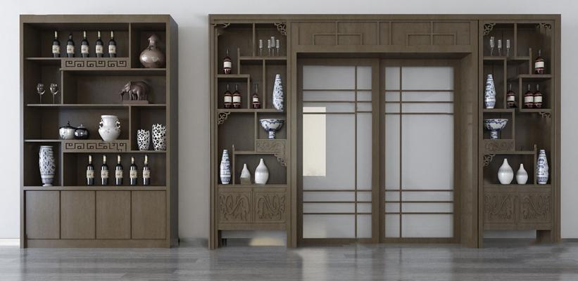 新中式酒柜3D模型