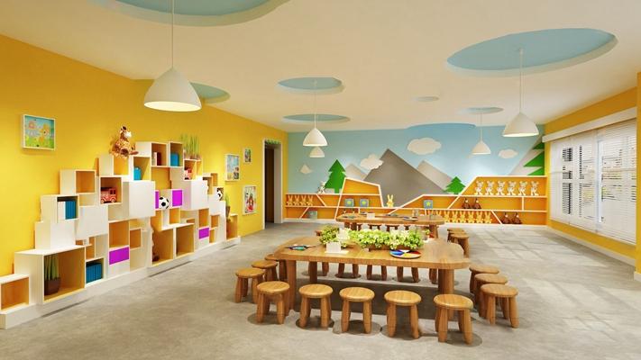 现代幼儿园3D模型