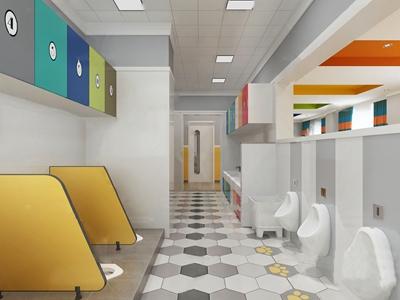 北欧幼儿园卫生间3d模型