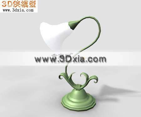 喇叭花臺燈3D模型