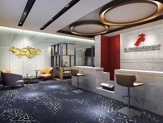 现代豪华机场VIP休息区 现代其他 等候区 服务台 机场VIP休息区 吧台 吧椅 单人沙发 茶几 水吧台
