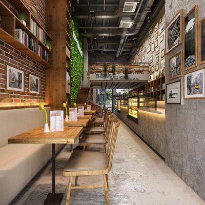 工业风时尚餐厅 工业风餐饮空间 收银台 餐桌椅 卡座 植物墙 挂画 蛋糕柜