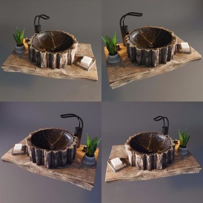 自风风原木台盆洗手盆3D模型