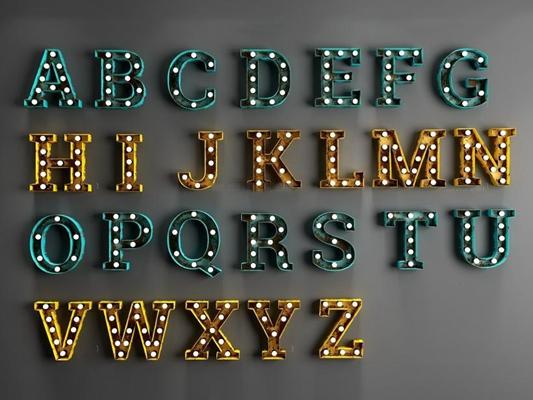 loft怀旧字体壁灯 工业风墙饰 壁饰 发光字母 壁灯 英文字母 怀旧 字母灯 loft墙壁灯饰组合