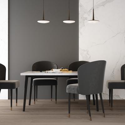 现代轻奢港式布艺餐桌椅吊灯组合3D模型