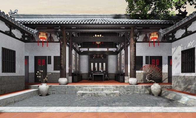 中式祠堂宗祠 中式祠堂 牌匾 對聯 文化石 瓦 中式吊燈