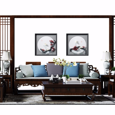 中式实木沙发组合3D模型