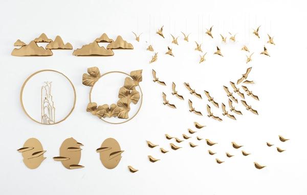 现代金属小鸟山体墙饰挂件3d模型