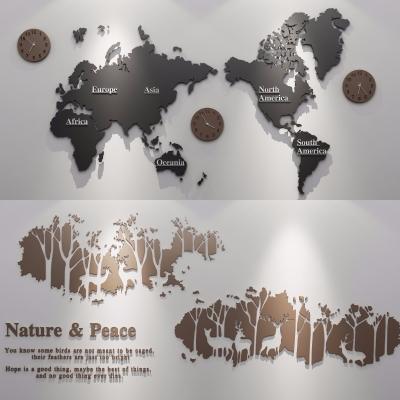 现代挂钟地图装饰墙饰组合3D模型