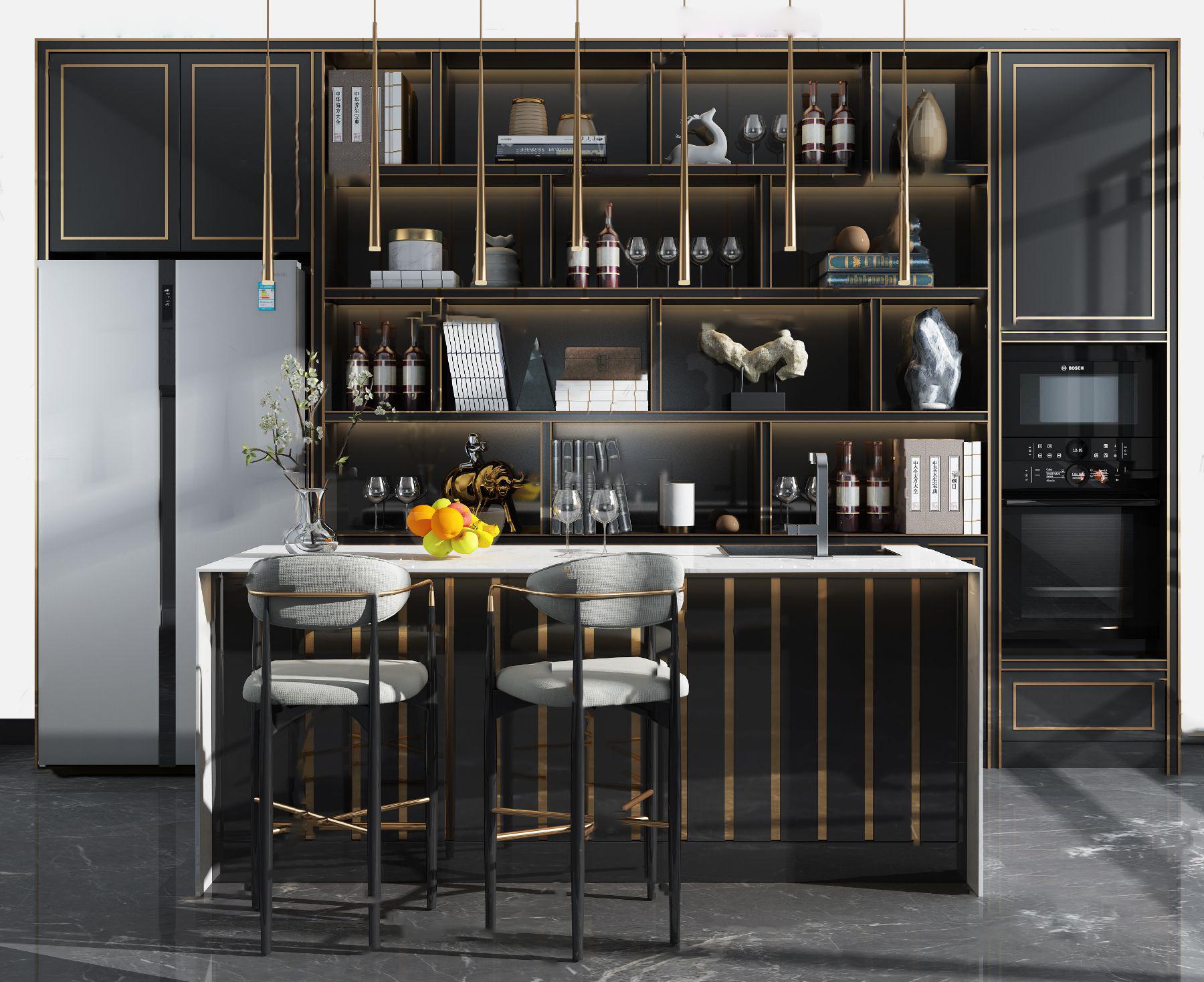 现代吧台酒柜组合3d模型