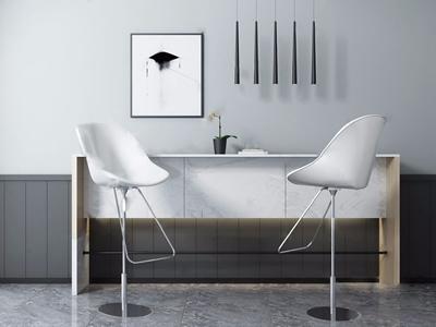 现代吧椅吊灯组合 现代吧椅 吧台 吊灯 挂画