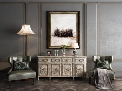 美式休闲椅边柜3d模型