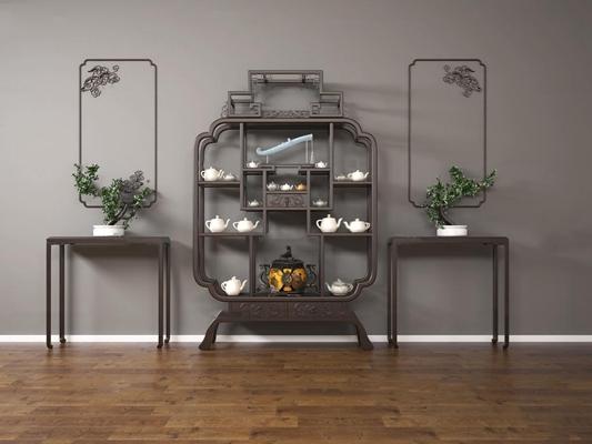 中式博古架茶壶端景台盆景组合3D模型