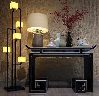 中式端景台落地灯台灯陶瓷器皿组合3D模型