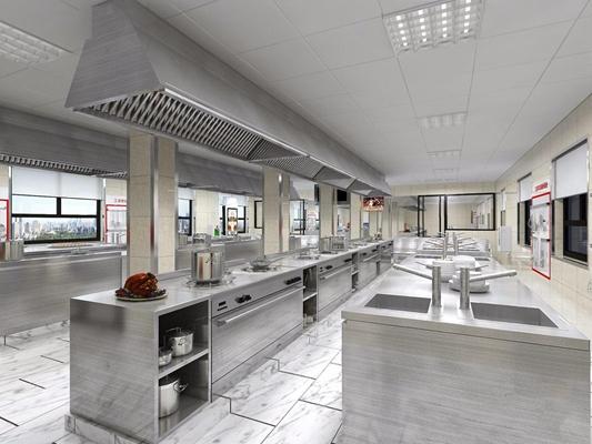 现代工装厨房 现代餐饮空间 厨房 食堂 操作台 水槽