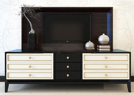 中式电视柜柜 边柜 电视柜 新中式 装饰品 装饰柜 实木柜 摆件