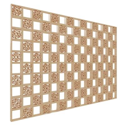 新中式格子隔断中式 花草 鸟兽 构件 石材 复古 雕花 隔断 镂空 装饰 原木 金属 分隔空间