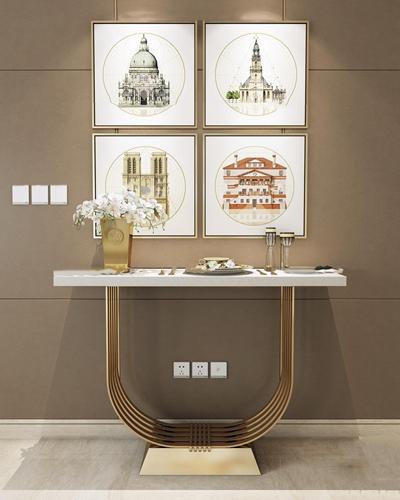现代端景台装饰画开关面板瓷盘组合3D模型