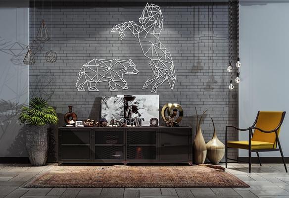 工业风电视柜单椅摆件组合3D模型