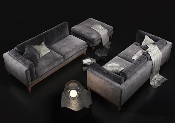 现代沙发边几台灯组合3D模型