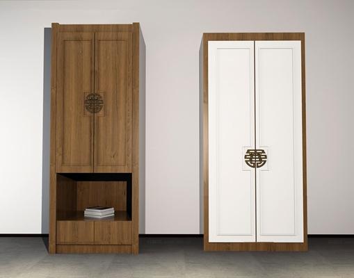 中式实木衣柜组合3D模型