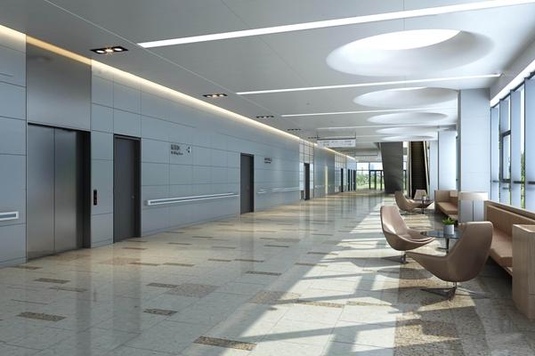 现代医院公共电梯走廊3D模型【ID:96997930】