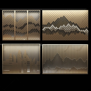 新中式屏风背景墙 新中式隔断/屏风 屏风 山形屏风 金属屏风