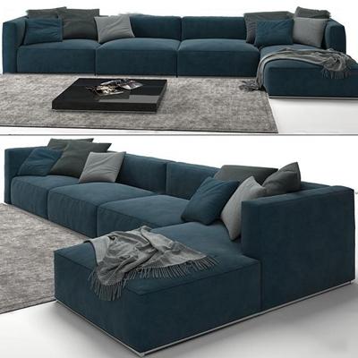 现代布艺转角多人沙发3D模型