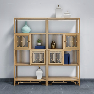 新中式博古架装饰柜3D模型