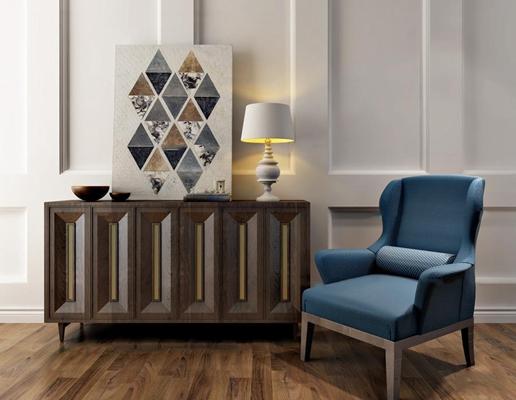 现代实木餐边柜休闲椅组合3D模型