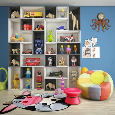 现代儿童玩具架休闲沙发组合3D模型