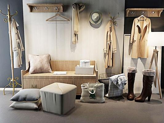现代鞋柜挂衣板女鞋服饰组合3D模型