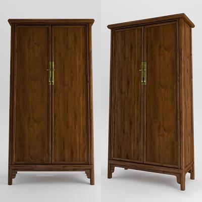 新中式实木衣柜3D模型