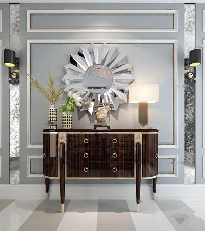 后現代玄關柜花藝臺燈裝飾鏡組合3D模型