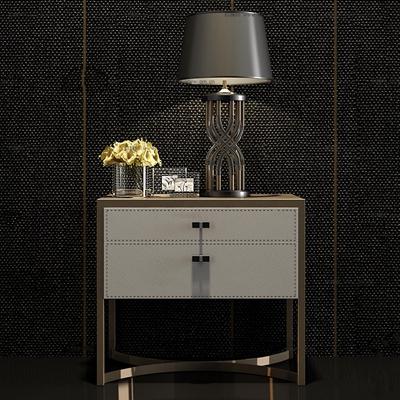 现代金属皮革床头柜台灯组合3D模型