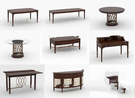 美式实木餐桌书桌茶几边柜组合3D模型