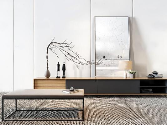 現代實木電視柜組合3D模型