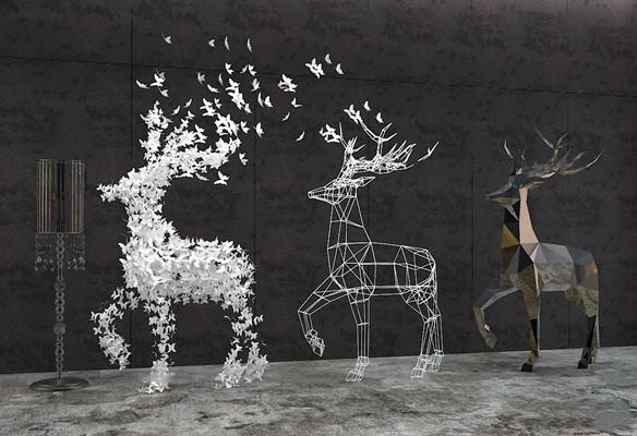 现代蝴蝶落地灯小鹿造型摆件3D模型