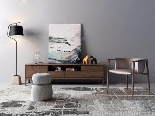 现代电视柜单椅落地灯组合3D模型