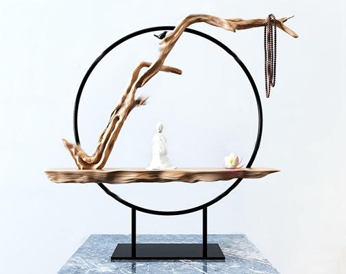 新中式枯枝雕塑摆件3D模型