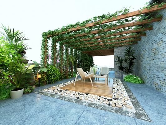 现代阳台花园葡萄架藤蔓组合3D模型